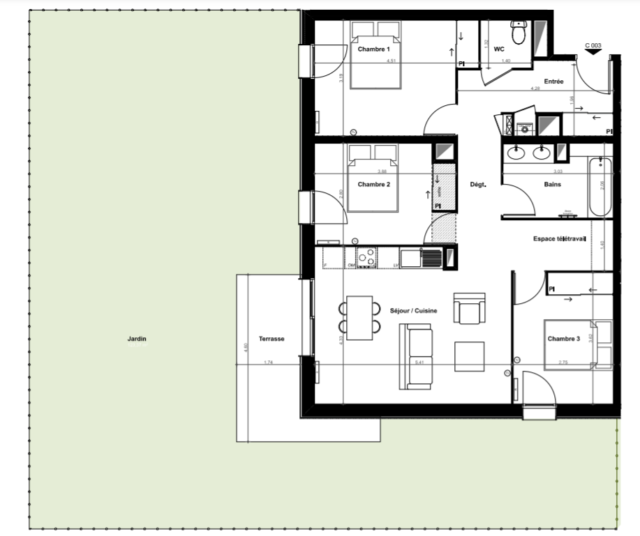 Pessac – appartement de type T4 avec jardin