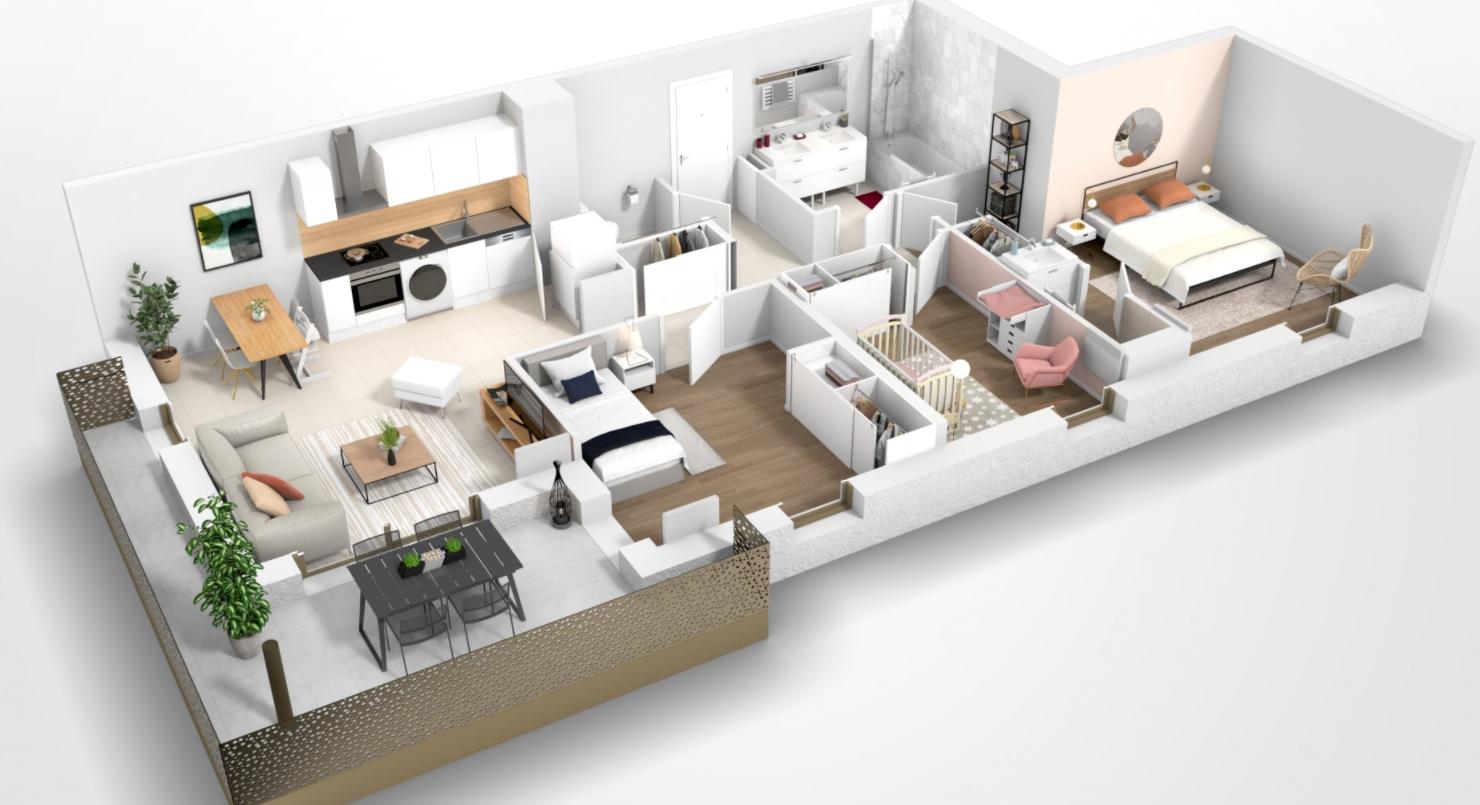 Pessac – appartement de type T4 avec balcon
