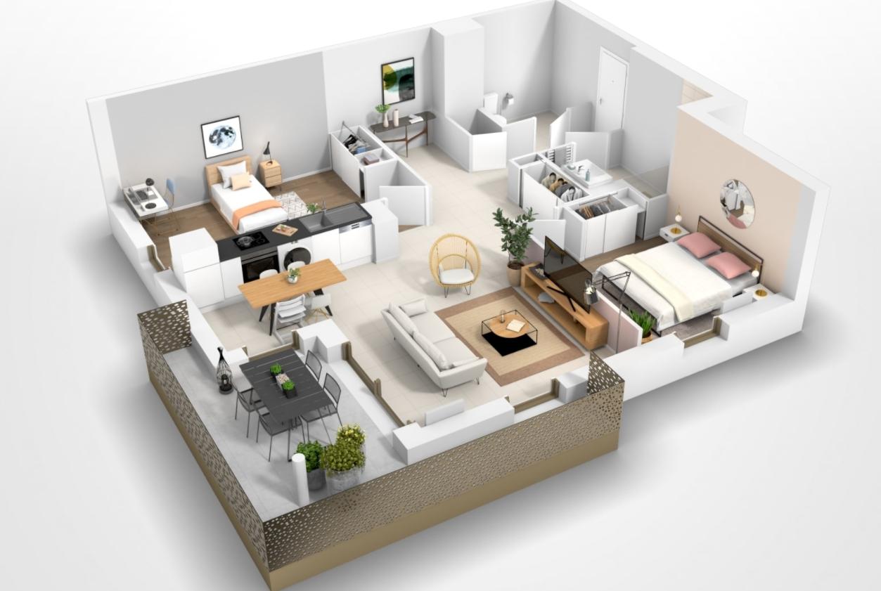Pessac – appartement de type T3 avec balcon